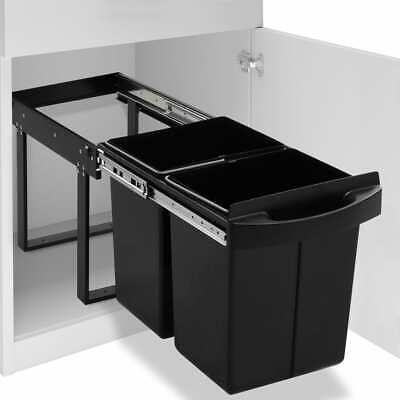vidaXL Kitchen Cupboard Pull-out Recycled Dustbin Soft-Close 48L Rubbish Bin