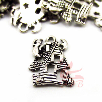 Haunted House 20mm Wholesale Antiqued Silver Plated Halloween Charms- 8/15/30PCs - Halloween Charms Wholesale