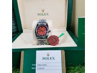 NEW! LADIES ROLEX DATEJUST, Silver with Red Face & Timestones. INCLUDES BOX, BAG & PAPERWORK. £140