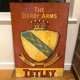 XL enamel sign The Derby Arms Tetley
