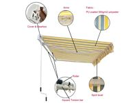 patio retractable awning 7 ft d x 7.5 ft w