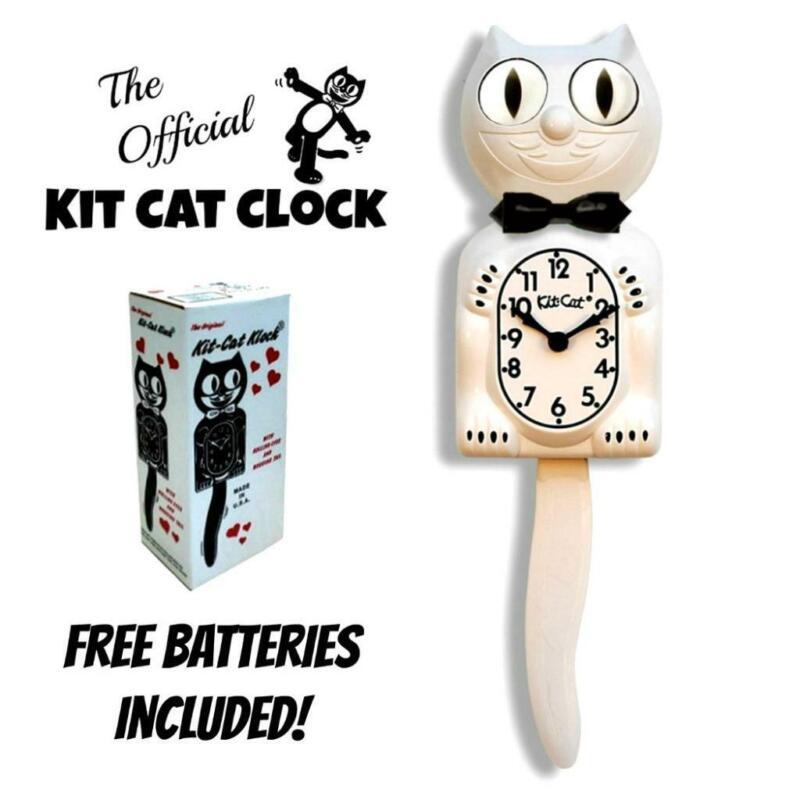 "WHITE KIT CAT CLOCK 15.5"" Free Battery MADE IN USA Official Kit-Cat Klock NEW"