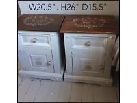 Pair of Shabby Chic solid pine bedside cabinets