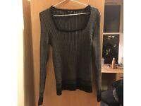 Grey wool sweater size 8, hardly worn