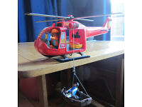 Playmobil helicopter, two crew plus small boat and casualty