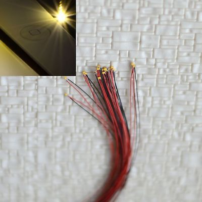 10 pcs Pre Wired #0402 SMD LEDs Lighting Kits Pre-soldered Micro LEDs Warm white