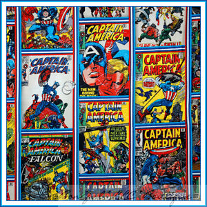 BonEful-Fabric-FQ-Captain-America-Marvel-Super-Hero-Boy-Comic-Block-RARE-Cotton