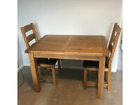 Solid Oak Table and 2 Chairs