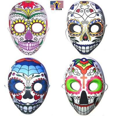 Halloween Day of The Dead Sugar Skull Mask Costume Dia de Los Muertos Accessory ()
