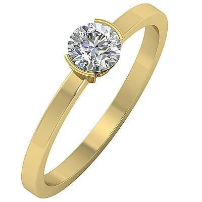 Semi Bezel Solitaire Setting - I1 G 0.55 Carat Real Diamond Solitaire Engagement Ring Semi Bezel Set 14K Gold