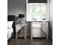 Mirror and pink crushed diamond chest of drawers and bedside drawers