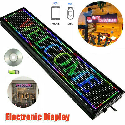 40x8 7 Colors Outdoor Led Sign Programmable Scrolling Message Board Durable Us