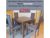 Melrose Extending Dining Table by Julian Bowen + 4 chairs