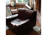 . BROWN LEATHER SIXTIES ARM CHAIR