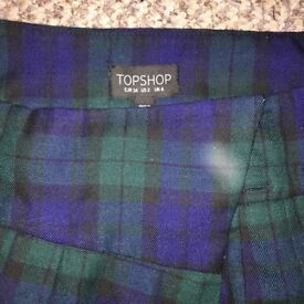 Topshop green wraparound tartan skirt