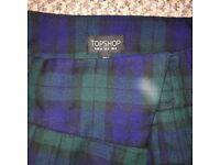 Topshop green wraparound tartan skirt
