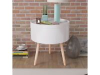 Side Table with Serving Tray Round 39.5x44.5 cm White-243402