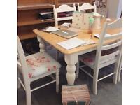 Pine Country Shabby Chic Wood 6 Seater Dining Table Set With Chairs
