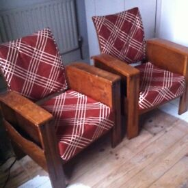 A Pair of Rare Antique Art Deco Library Chairs / Can Deliver