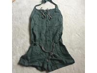Firetrap halter playsuit size 8-10 khaki cotton