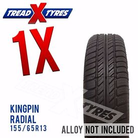 1 x New 155/65R13 Kingpin Radial Tyre - 155 65 13 - Fitting Available