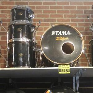 Tama Superstar Birch Shell Kit Black-batterie acoustique noire en bouleau 10-12-14ft-20 usagée-used