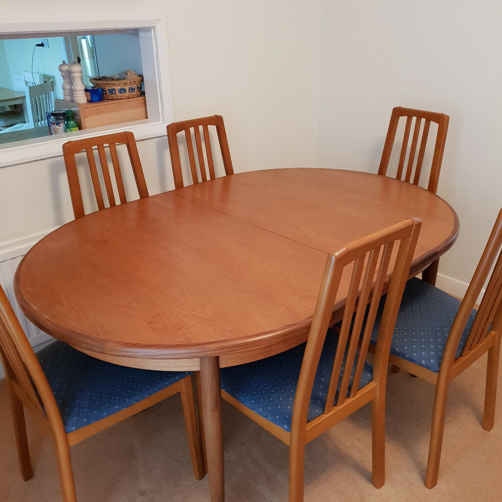 g plan teak oval dining room table  6 chairs  in