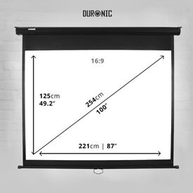 Projection Screen Duronic Manual Pull Down HD Projector Screen, Matte White, Wall, Ceiling mountable