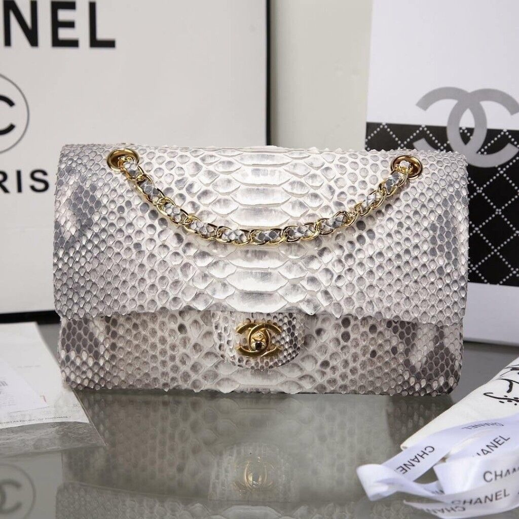 Chanel Grey Amp Off White Python Classic Double Flap Bag