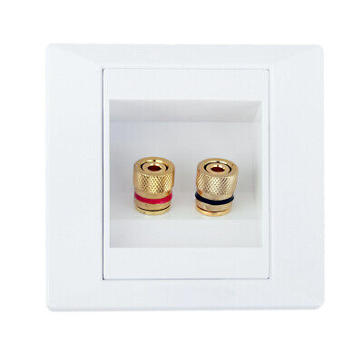 Banana Binding Speaker Wall Plate Dual 1 Pair White 2 Post Gold Plated Gold Dual Wall Plate