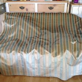 Light Teal and Gold Striped Upholstery and Curtain weight chenille finish