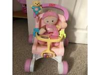 Fisher price walker pram and doll