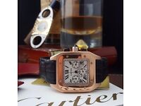 Rose Gold Cartier Santos With Black Leather strap Comes Cartier Bagged And Boxed With Paperwork