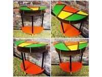 Retro, hand painted side table, half-moon table, hallway, lamp table