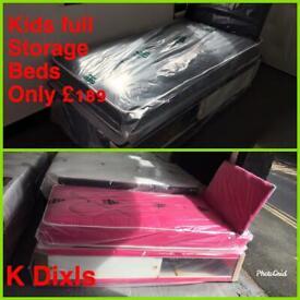 K Dixls kids single storage divan beds with headboard and mattress full beds only £189