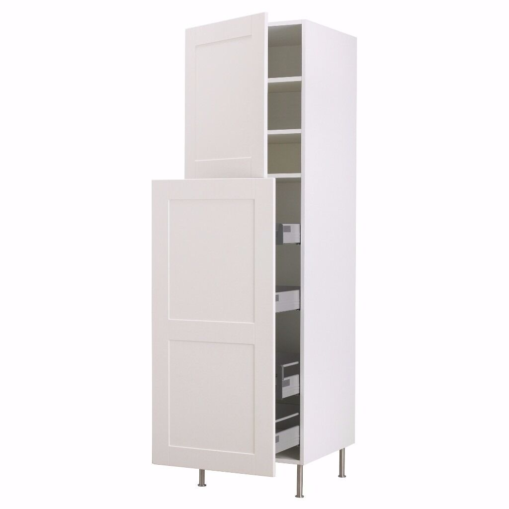 Ikea tall free standing kitchen pantry white cabinet for Free standing corner pantry cabinet ikea