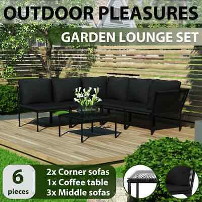 Garden Furniture - vidaXL 6 Piece Garden Lounge Set with Cushions Black PVC Outdoor Furniture