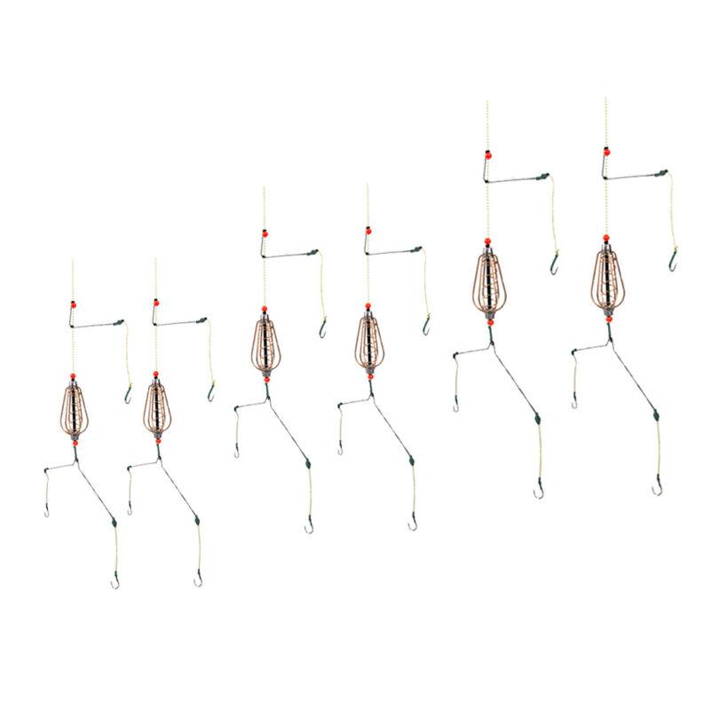 6pcs Spring Fishing Feeder Lead Thrower Carp Method Fishing Bait Cage with Hooks