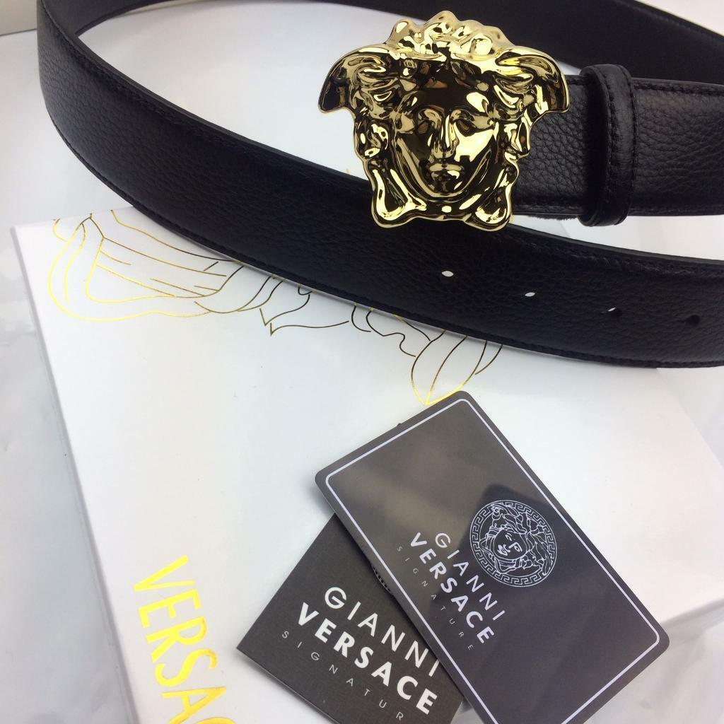 d04629fd4 Gold big head fashion design polished men's leather belt Versace boxed  perfect gift for him