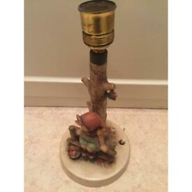 """Hummel table lamp in shape of little girl seating on the bench 12""""H 6"""" D"""