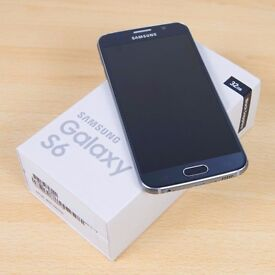 Samsung Galaxy S6 32GB Unlocked Sapphire Black - Boxed in great condition with 4 NEW Cases