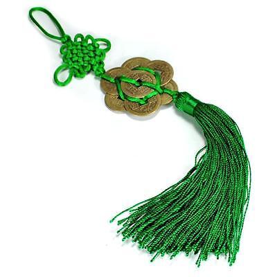 FENG SHUI 8 FORTUNE COIN TASSEL GREEN Hanging Cure Balance Peace Healing Health