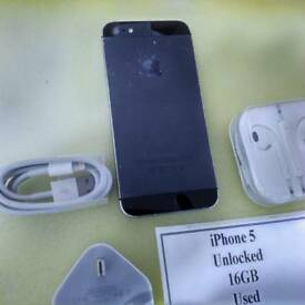 IPhone 5 Unlocked 16GB Used with warranty and accessories