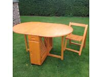 Gate leg table & with 4 chair