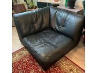 Armchair Vintage black leather couch chair bambole style