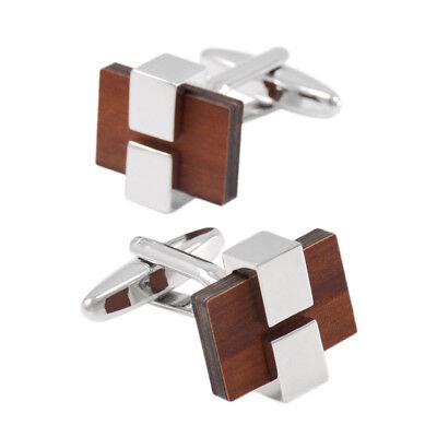 Wooden Inlay Rectangle Geometric Cufflinks Brown Wood Cuff Link Mens Jewelry (Wood Cufflinks)