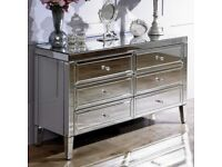 Valencia mirrored chest of drawers