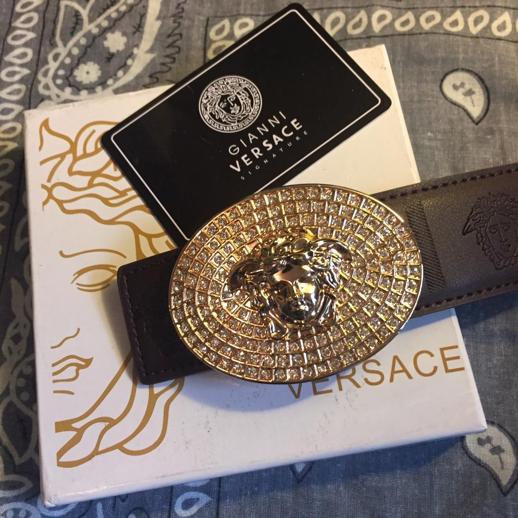 versace belt box. gold iced out versace belt with box c