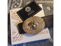 Gold Iced out versace belt with box