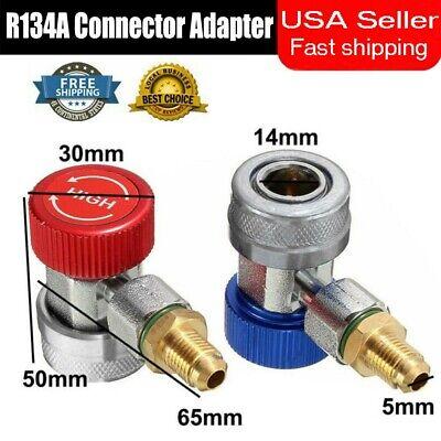2pc R134a Quick Connector Adapter Coupler Car Ac Manifold Gauge Low High Hvac